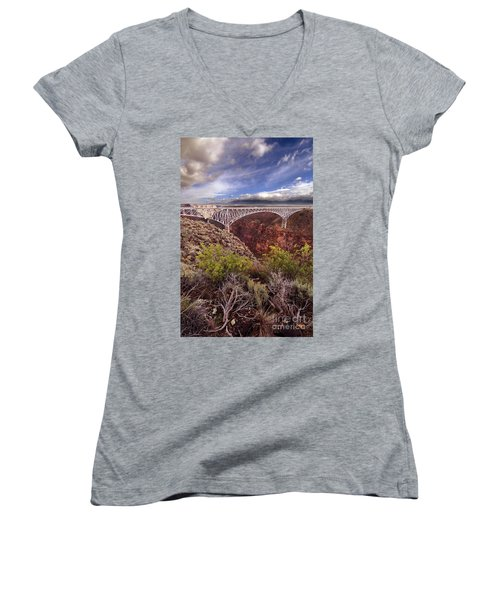 Rio Grande Gorge Bridge Women's V-Neck T-Shirt (Junior Cut) by Jill Battaglia