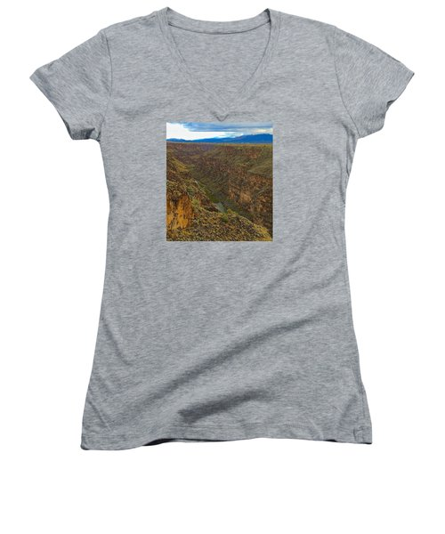 Women's V-Neck T-Shirt (Junior Cut) featuring the photograph Rio Grande Gorge Just After Dawn by Brenda Pressnall