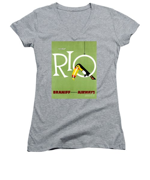 Rio Vintage Travel Poster Restored Women's V-Neck (Athletic Fit)