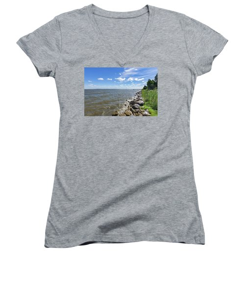 Women's V-Neck T-Shirt featuring the photograph Rip-rap On The Chester River by Charles Kraus