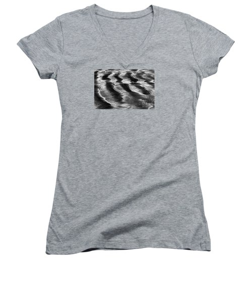 Women's V-Neck T-Shirt (Junior Cut) featuring the photograph Ripples In The Sand by Gary Bridger