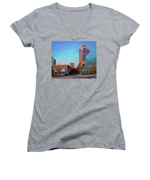 Rise And Shine Women's V-Neck T-Shirt (Junior Cut) by Bonnie Mason
