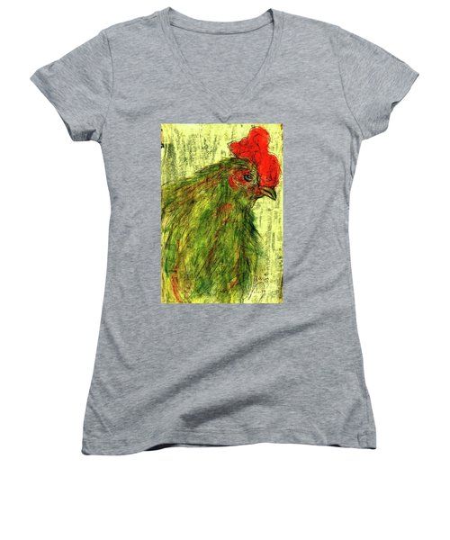 Women's V-Neck T-Shirt (Junior Cut) featuring the drawing Rise And Shine  by P J Lewis