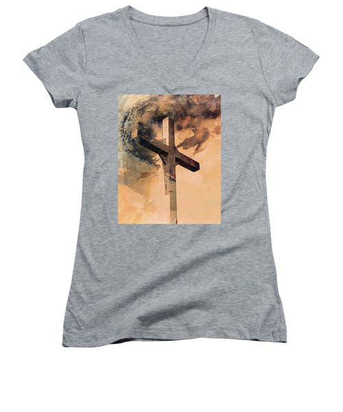 Women's V-Neck T-Shirt (Junior Cut) featuring the mixed media Risen  by Aaron Berg