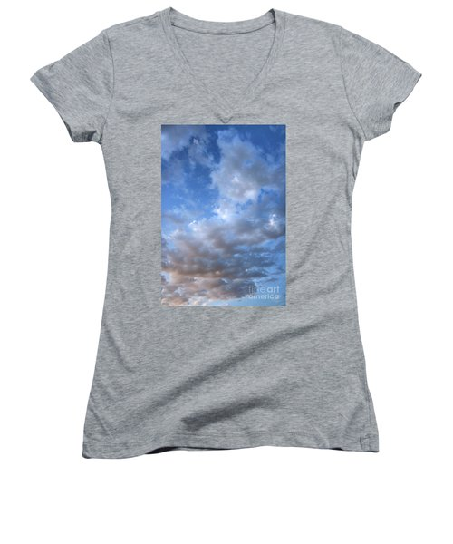 Women's V-Neck T-Shirt (Junior Cut) featuring the photograph Rising Clouds by Michael Rock