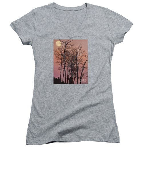 Rising Of The Moon  Women's V-Neck T-Shirt (Junior Cut) by Barbara Barber