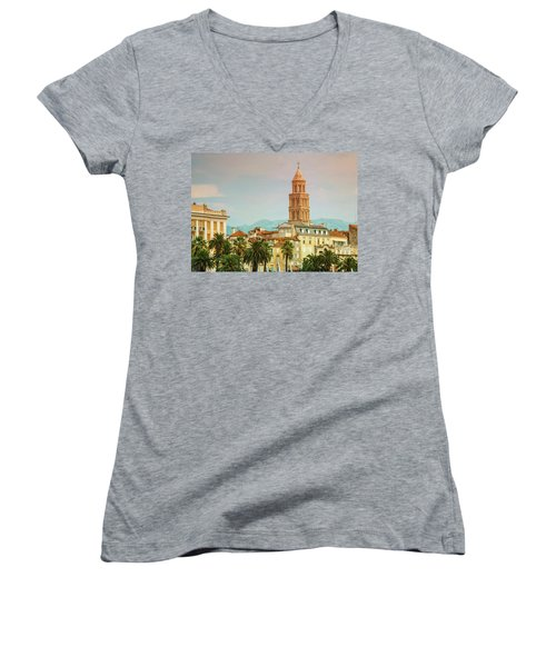 Riva Waterfront, Houses And Cathedral Of Saint Domnius, Dujam, D Women's V-Neck T-Shirt (Junior Cut) by Elenarts - Elena Duvernay photo