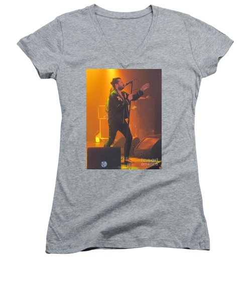 Women's V-Neck T-Shirt (Junior Cut) featuring the photograph Rival Sons Jay Buchanan by Jeepee Aero
