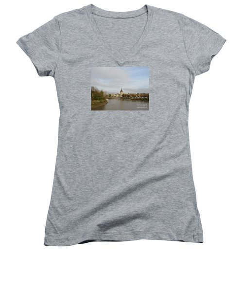 River Arrival To Libourne Women's V-Neck T-Shirt