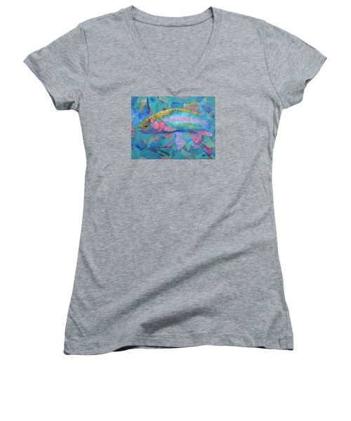 Women's V-Neck T-Shirt (Junior Cut) featuring the painting River Bow by Nancy Jolley