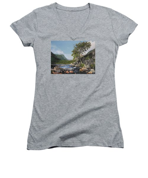 River Coe Scotland Oil On Canvas Women's V-Neck (Athletic Fit)