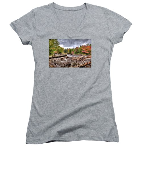Women's V-Neck T-Shirt (Junior Cut) featuring the photograph River Debris At Indian Rapids by David Patterson