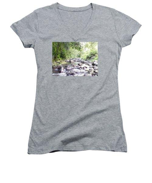 River In Adjuntas Women's V-Neck