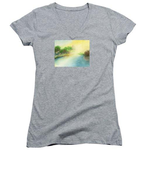 River Morning Women's V-Neck T-Shirt (Junior Cut) by Frank Bright