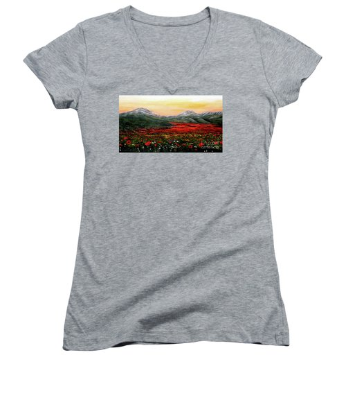 Women's V-Neck T-Shirt (Junior Cut) featuring the painting River Of Poppies by Judy Kirouac