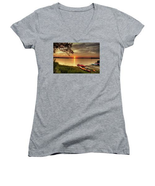 Women's V-Neck T-Shirt (Junior Cut) featuring the photograph River Road Park Never Disappoints by Phil Mancuso