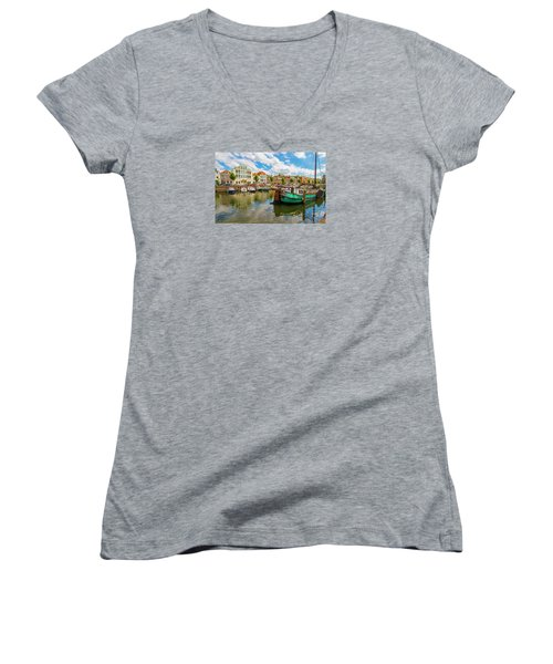 River Scene In Rotterdam Women's V-Neck T-Shirt