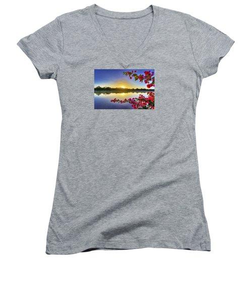 River Sunrise Women's V-Neck T-Shirt (Junior Cut) by Nadia Sanowar