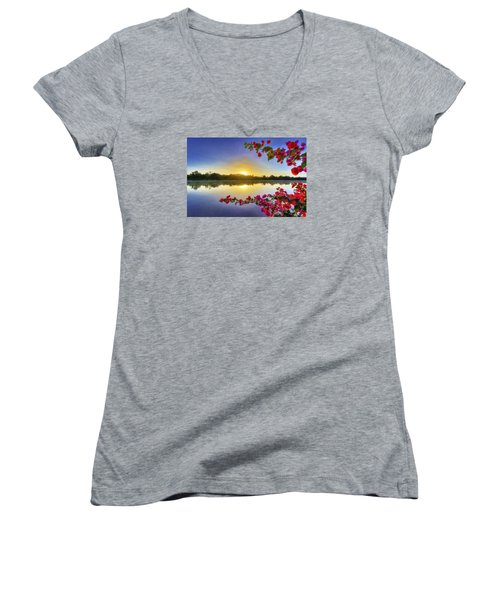 River Sunrise Women's V-Neck (Athletic Fit)