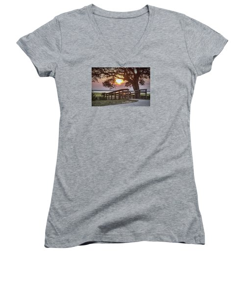 River Walk Women's V-Neck T-Shirt (Junior Cut) by Phil Mancuso