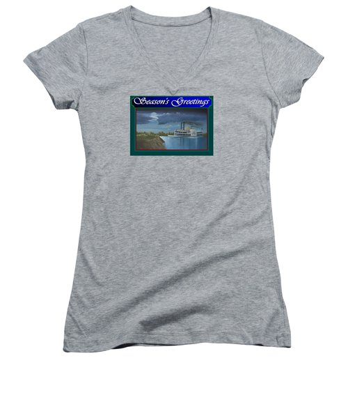 Women's V-Neck T-Shirt (Junior Cut) featuring the painting Riverboat Season's Greetings by Stuart Swartz