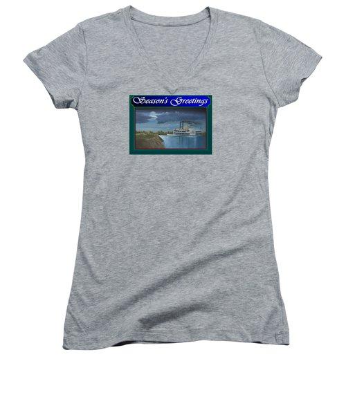 Riverboat Season's Greetings Women's V-Neck T-Shirt (Junior Cut) by Stuart Swartz