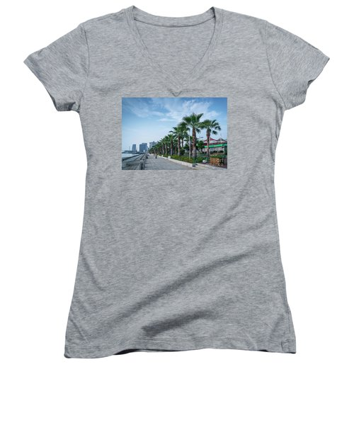 Riverside Promenade Park And Skyscrapers In Downtown Xiamen City Women's V-Neck T-Shirt