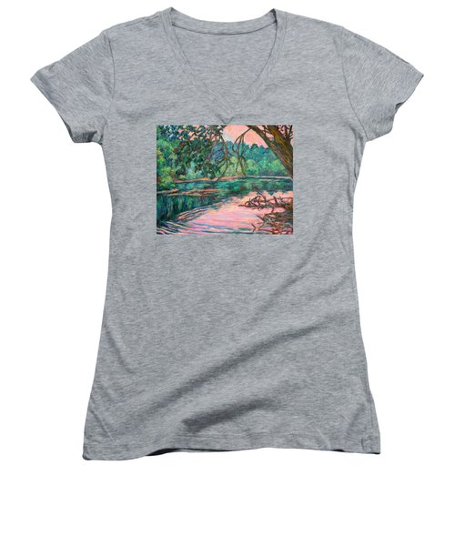 Riverview At Dusk Women's V-Neck