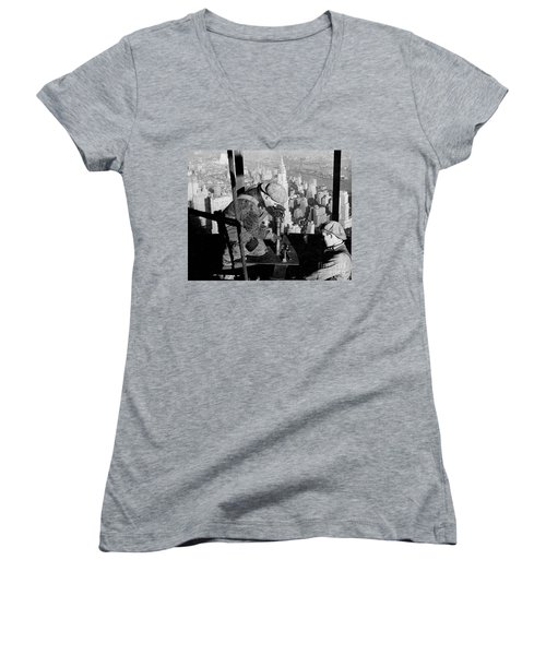 Riveters On The Empire State Building Women's V-Neck T-Shirt (Junior Cut) by LW Hine