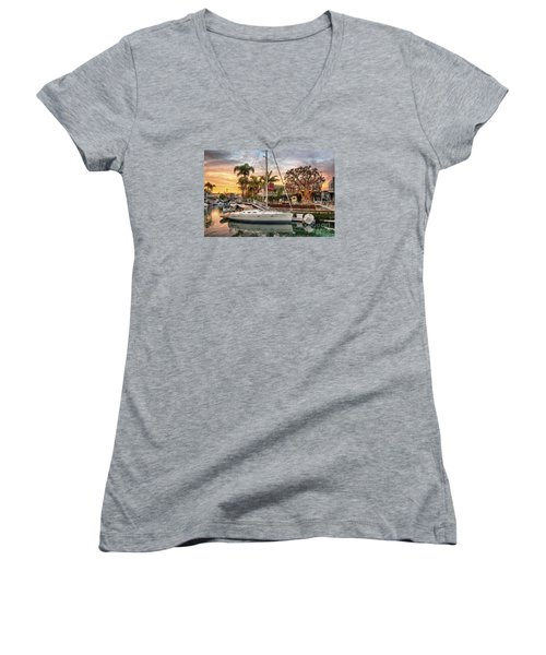 Rivo Alto Canal And Naples Canals Women's V-Neck T-Shirt