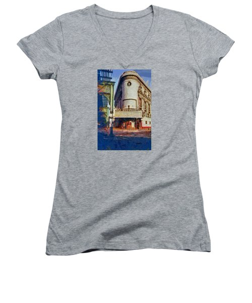 Women's V-Neck T-Shirt (Junior Cut) featuring the digital art Rko Bushwick Theater 1974 by Kai Saarto