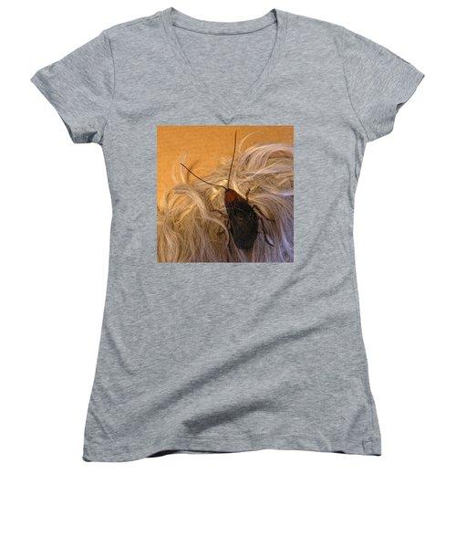 Roach Hair Clip Women's V-Neck T-Shirt (Junior Cut) by Roger Swezey