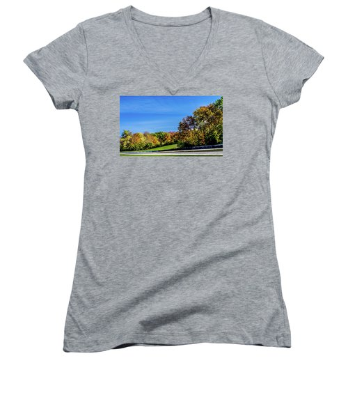Road America In The Fall Women's V-Neck T-Shirt