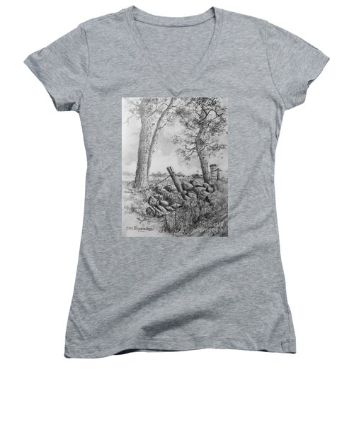 Road Home Women's V-Neck T-Shirt (Junior Cut) by Jim Hubbard