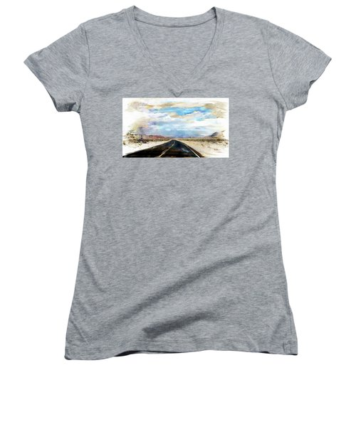 Women's V-Neck T-Shirt (Junior Cut) featuring the digital art Road In The Desert by Robert Smith