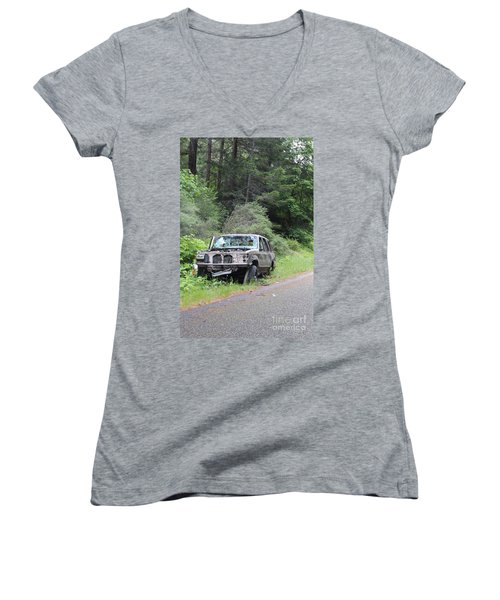 Women's V-Neck T-Shirt featuring the photograph Road Kill by Marie Neder