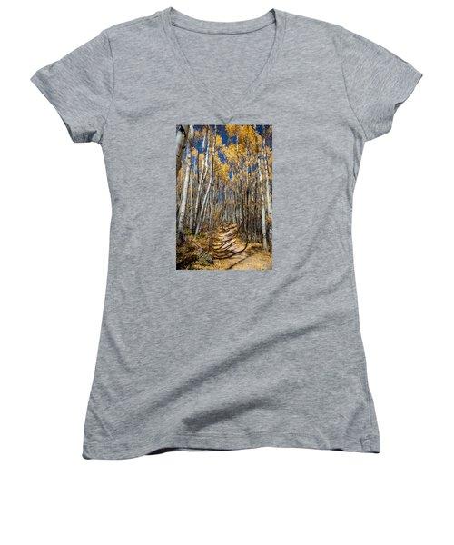 Road Through Aspens Women's V-Neck T-Shirt (Junior Cut) by Michael J Bauer