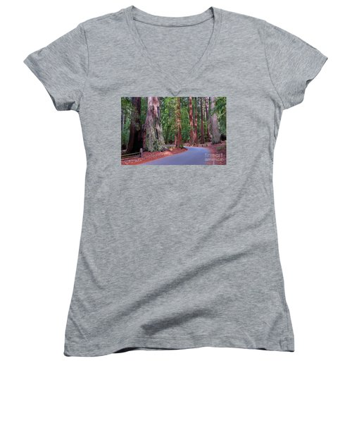 Road Through Redwood Grove Women's V-Neck (Athletic Fit)