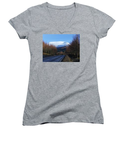 Women's V-Neck T-Shirt (Junior Cut) featuring the photograph Road To Aonach Mor  by Phil Banks