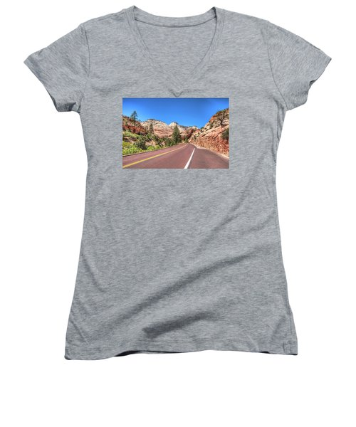 Women's V-Neck T-Shirt (Junior Cut) featuring the photograph Road To Zion by Brent Durken