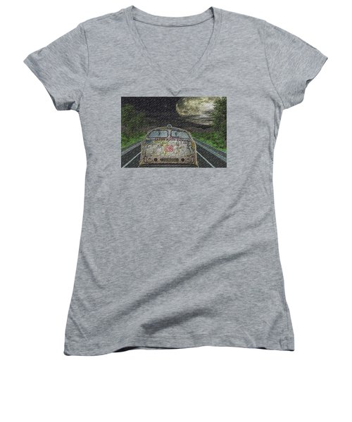 Women's V-Neck T-Shirt (Junior Cut) featuring the digital art Road Trip In The Rain by Angela Hobbs