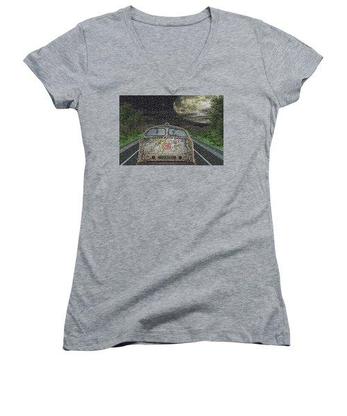 Road Trip In The Rain Women's V-Neck T-Shirt (Junior Cut) by Angela Hobbs