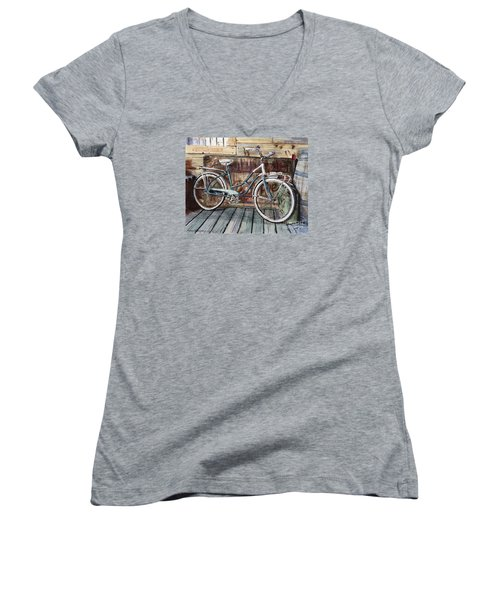 Roadmaster Bicycle Women's V-Neck T-Shirt (Junior Cut) by Joey Agbayani