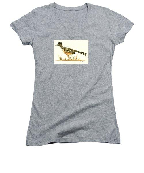 Roadrunner Bird Women's V-Neck T-Shirt (Junior Cut) by Juan Bosco