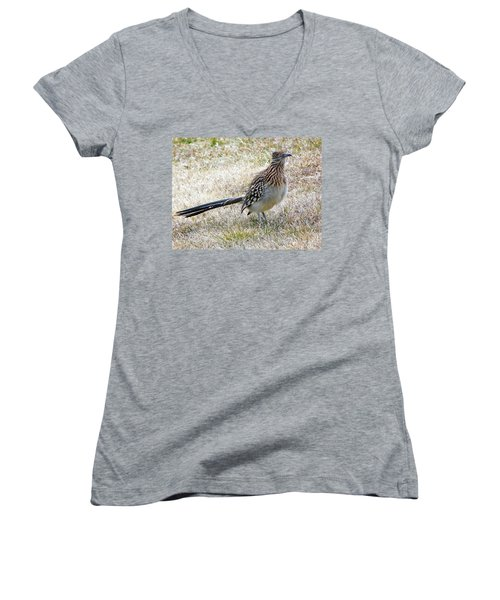 Roadrunner New Mexico Women's V-Neck T-Shirt (Junior Cut) by Joseph Frank Baraba