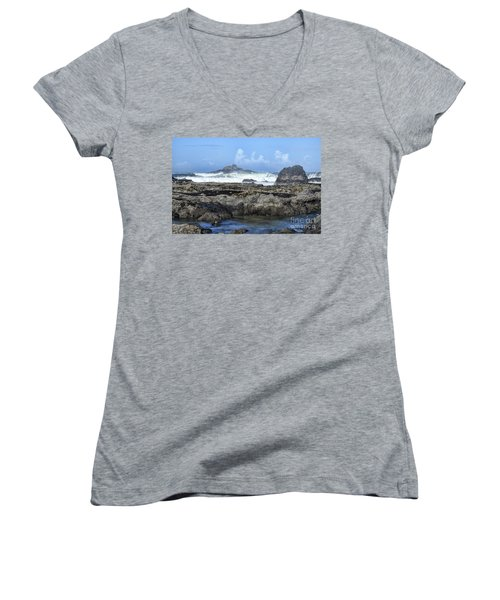Women's V-Neck T-Shirt featuring the photograph Roads End by Peggy Hughes