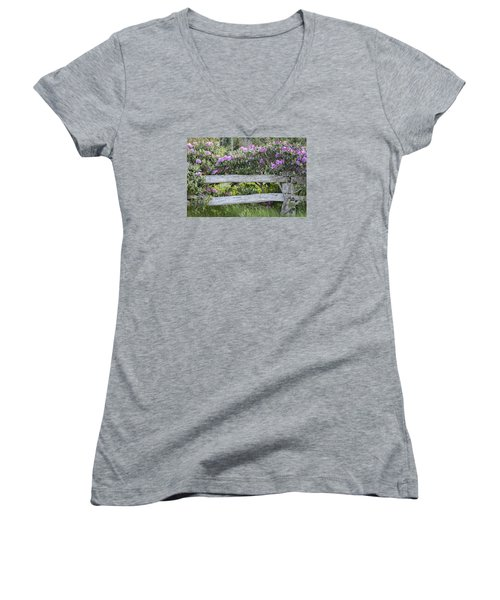 Women's V-Neck T-Shirt (Junior Cut) featuring the photograph Roan Mountain Azaleas by Tyson and Kathy Smith
