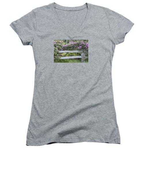 Roan Mountain Azaleas Women's V-Neck T-Shirt (Junior Cut) by Tyson and Kathy Smith