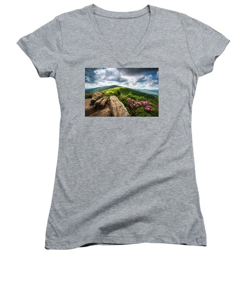Roan Mountain Radiance Appalachian Trail Nc Tn Mountains Women's V-Neck (Athletic Fit)