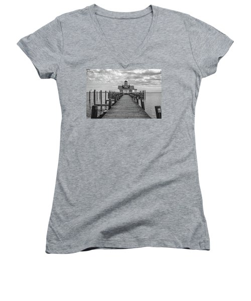 Women's V-Neck T-Shirt (Junior Cut) featuring the photograph Roanoke Marshes Light by David Sutton